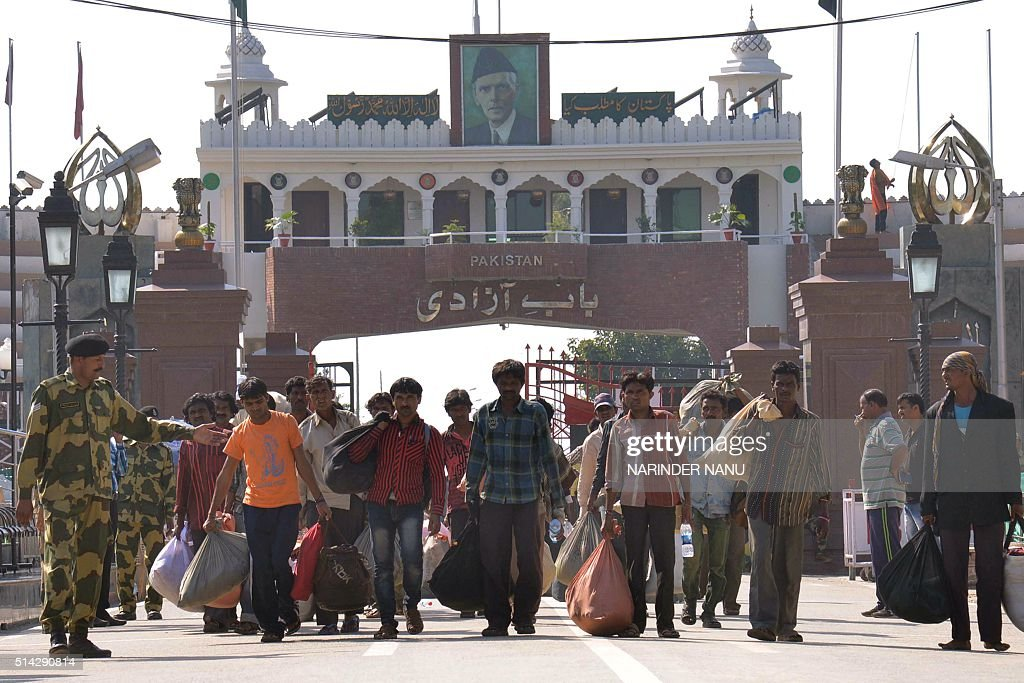 Indian fishermen released by Pakistan cross over at the IndiaPakistan border in Wagah about 35 km from Amritsar on March 8 2016 Pakistan released 87..