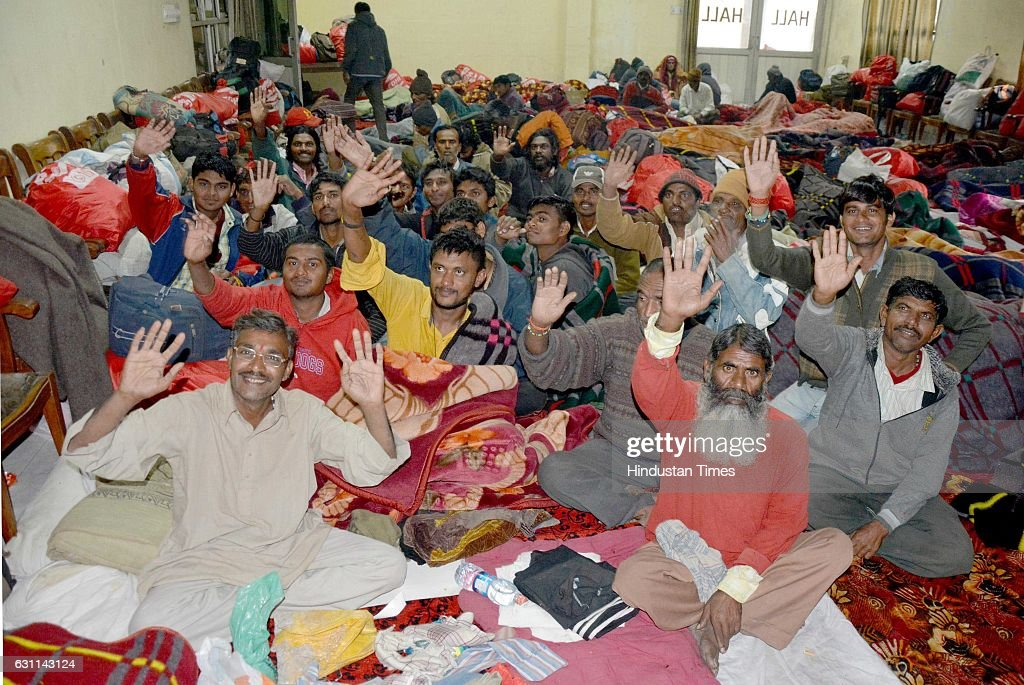 Indian fishermen released by Pakistan late night reach Amritsar via Wagah Border at Red Cross Bhawan Ranjeet Avenue on January 7 2017 in Amritsar...