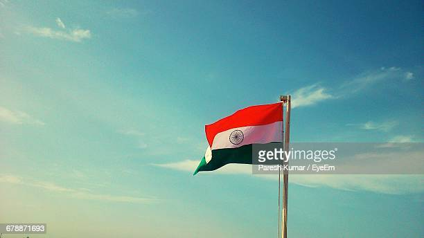 Indian Flag Against Blue Sky