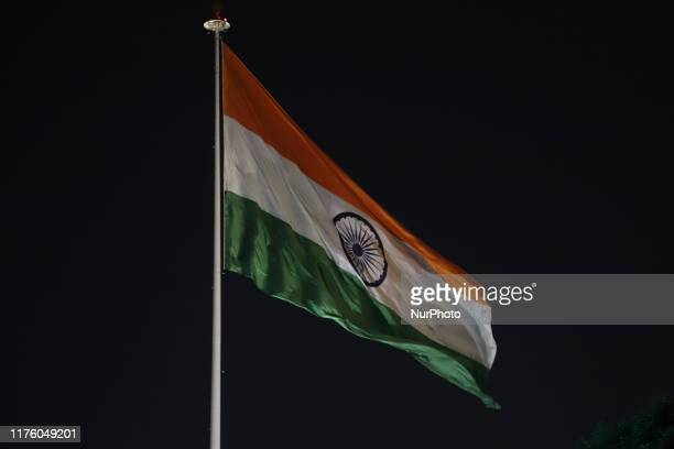 Indian flag waving inside the central park in Cannaught Place in New Delhi India on 15 October 2019