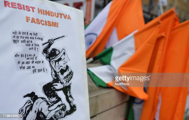 Indian flags and banners used by activists during the Protest Against Modi's Fascism in India, seen opposite of 10 Downing Street, in London, UK, on...