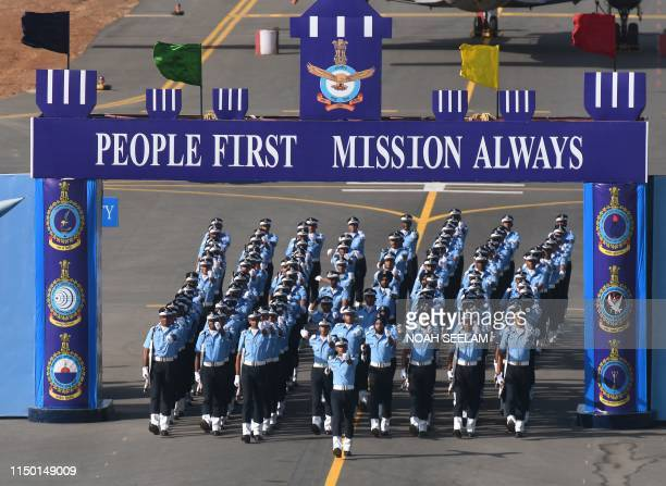 Indian Flight Cadets from all branches of the Indian Air Force Acedemy march during a combined graduation parade at the Indian Air Force Academy in...