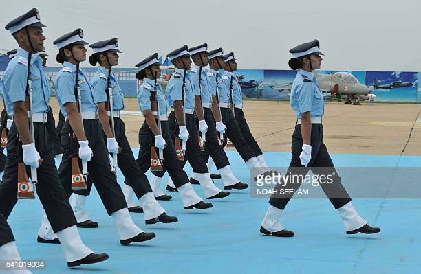 Indian Flight Cadets from the Indian Air Force Acedemy march during the combined graduation parade at the academy at Dundigal in Hyderabad on June 18...