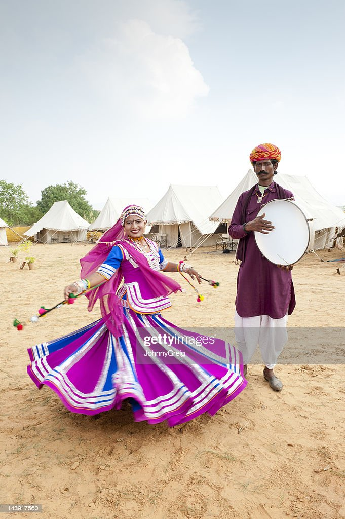 Indian Folk Dancer and Musician : Stock Photo