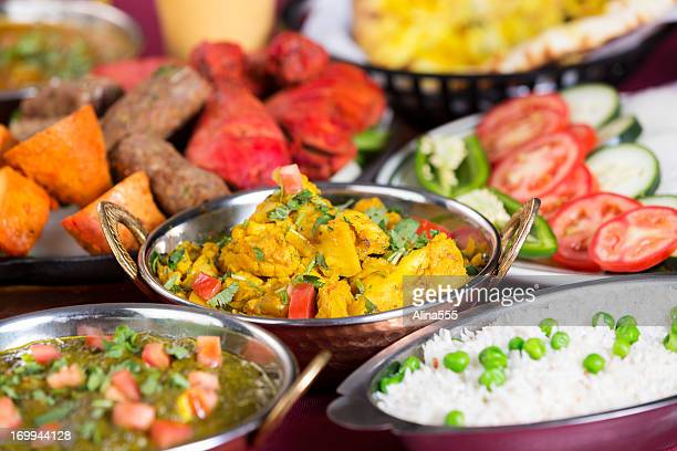Indian food: assortments of dishes