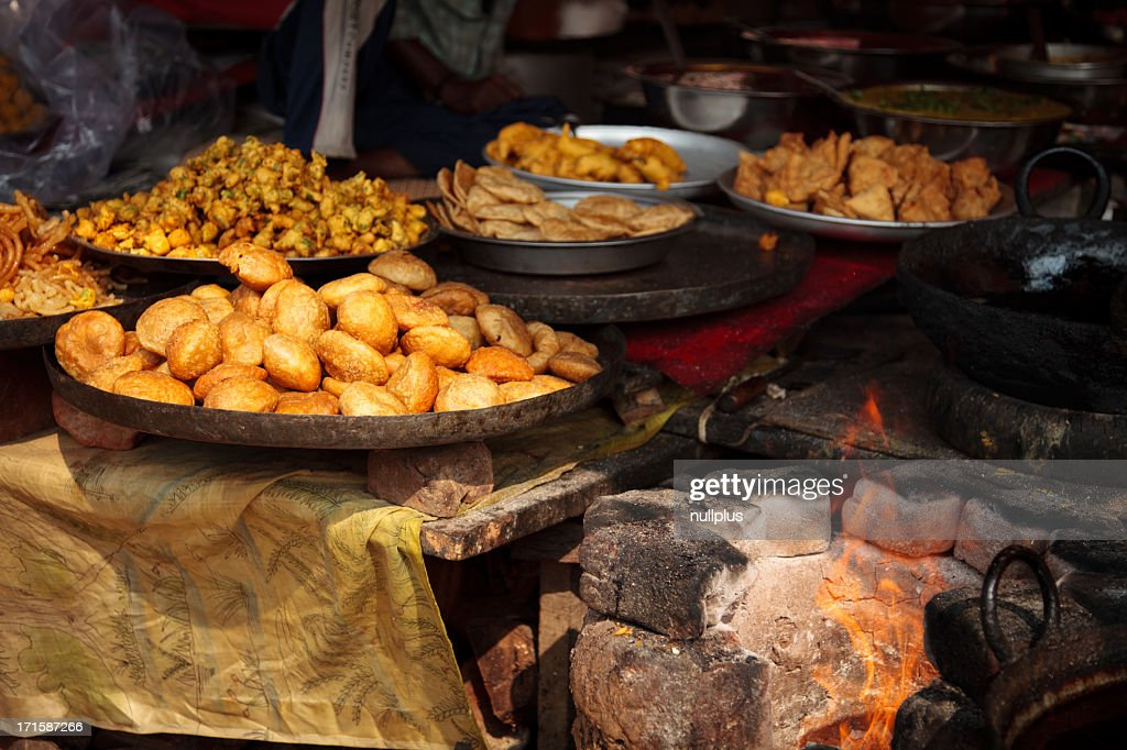 indian food at a market stall : Stock Photo