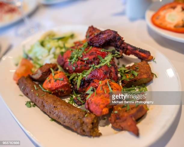indian food - chicken tikka stock photos and pictures