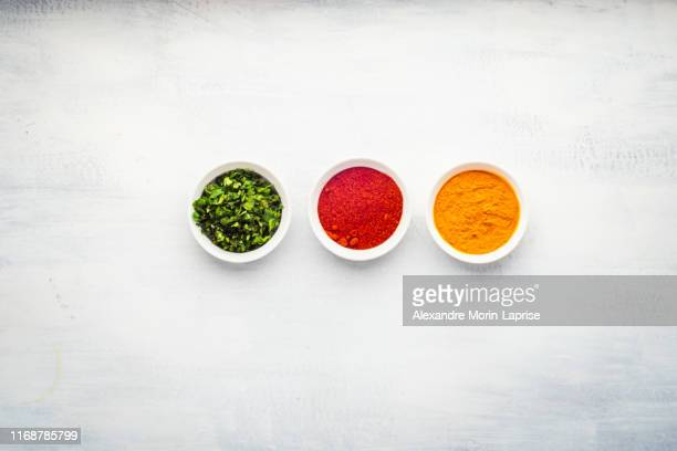 Indian Food: Spices Used in Dishes and Accompaniments, Coriander, Curcuma, and Paprika