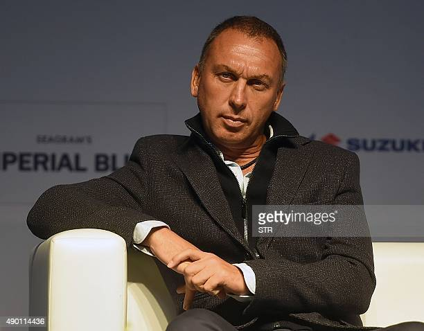 Indian football club FC Pune City coach David Platt listens during the media interaction session for the Indian Super League football tournament 2015...