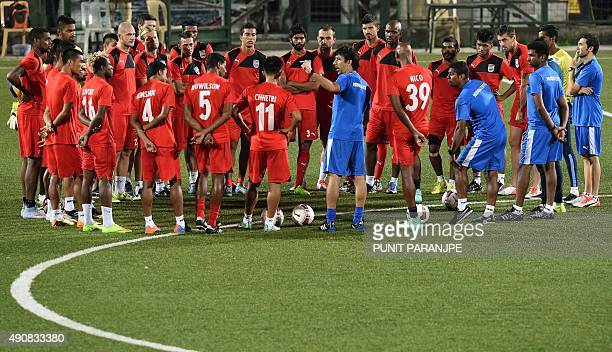 Indian football team players for Mumbai City FC gather during a training session in Mumbai on October 1 2015 The second edition of the eightteam...