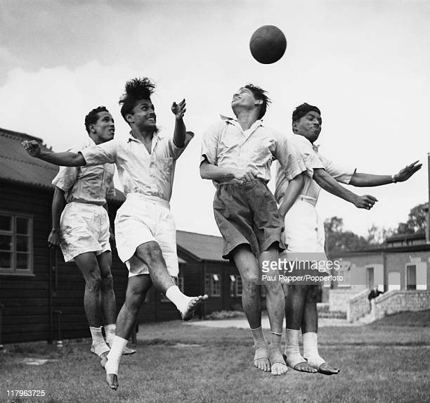 Indian footballers training barefoot at the Olympic training centre at Uxbridge Middlesex during the London Olympics August 1948