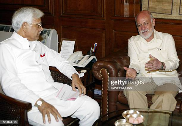 Indian Foreign Minister Natwar Singh talks with Pakistani High Commissioner to India Aziz Ahmed Khan during a meeting at the Ministry of External...