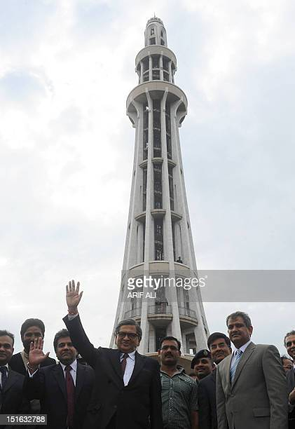 Indian foreign Minister SM Krishna visits the MinarePakistan a minaret built in commemoration of a resolution passed by the Indian Muslims in 1940 in...