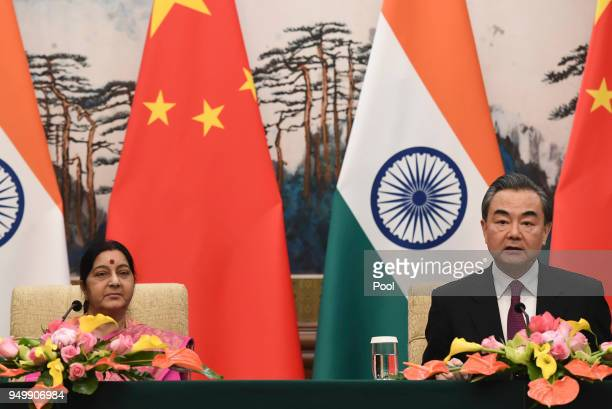 Indian Foreign Minister Sushma Swaraj and Chinese Forein Minister Wang Yi have a press conference after their meeting at the Diaoyutai State Guest...