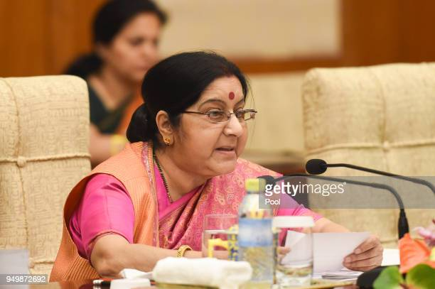 Indian Foreign Minister Sushma Swaraj during a meeting with Chinese Forein Minister Wang Yi at the Diaoyutai State Guest House on April 22 2018 in...