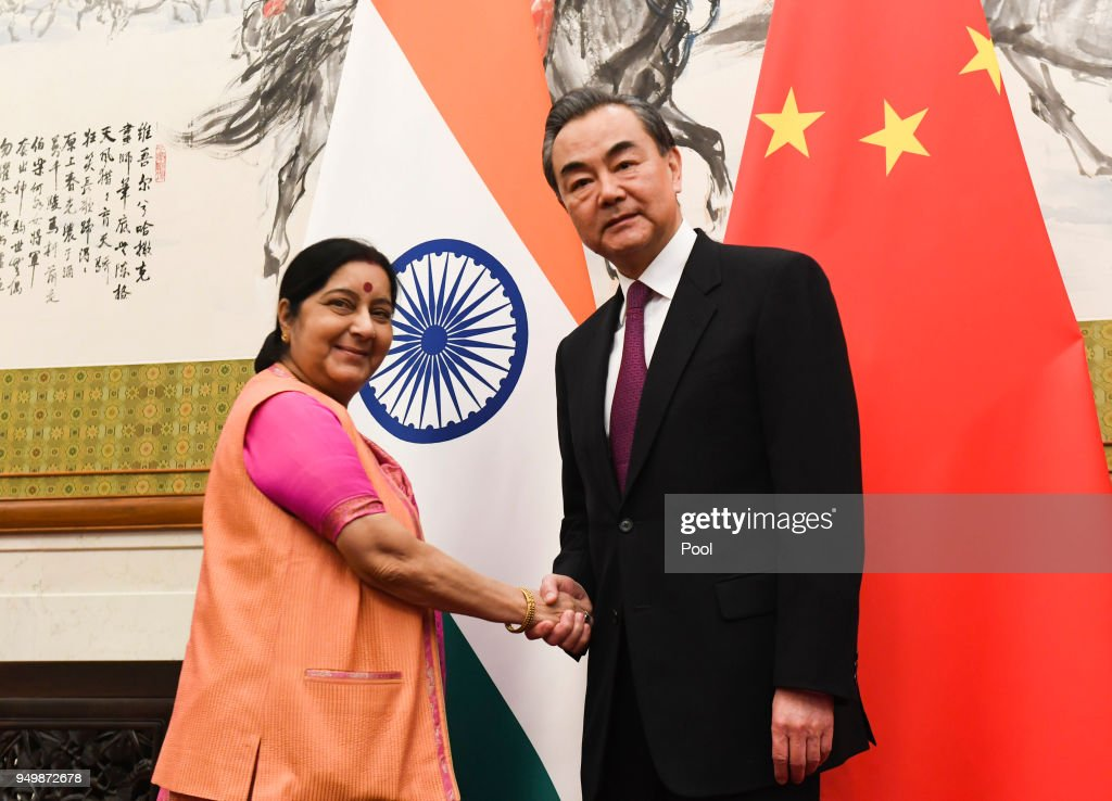 Indian Foreign Minister Sushma Swaraj Meets With Chinese Forein Minister Wang Yi : News Photo