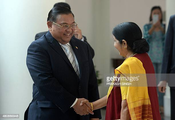 Indian Foreign Minister Sushma Swaraj welcomes U Wunna Maung Lwin Minister of Foreign Affairs of the Republic of the Union of Myanmar prior to a...