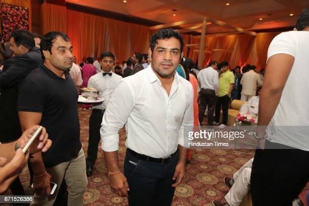 Indian freestyle wrestler Sushil Kumar during the wedding reception of INLD MP Dushyant Chautala with Meghna Ahlawat at Ashoka Hotel on April 20 2017...