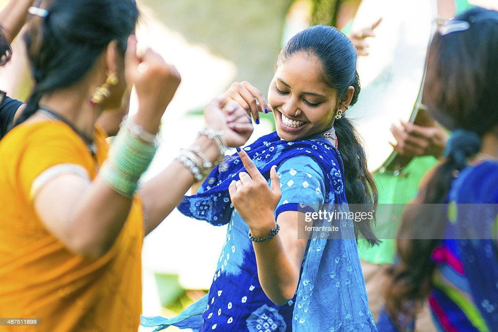 Indian Friends Belly Dancing : Stock Photo