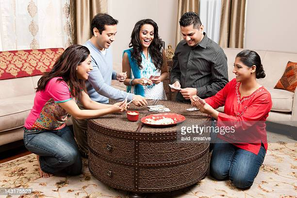 Indian Friends Playing Cards at Home