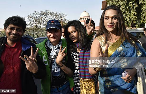 Indian gay rights activists outside the Supreme Court as it agreed to refer a curative petition challenging Section 377 of the Indian Penal Code to a...