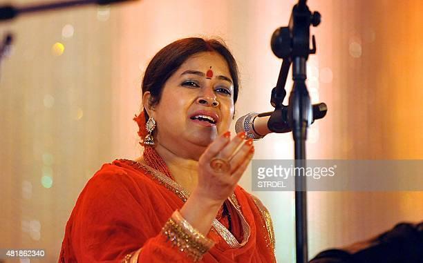 Indian ghazal and playback singer Rekha Bhardwaj performs during the Khazana The Festival of Ghazal in Mumbai late July 24 2015 AFP PHOTO/STR