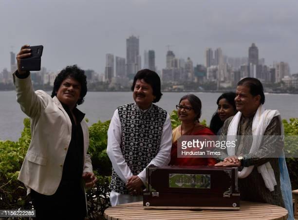 Indian Ghazal singers Pankaj Udhas Anup Jalota Rekha Bharadwaj Sudeep Benerji and Shilpa Rao during the promotional event of 18th edition of Khazana...