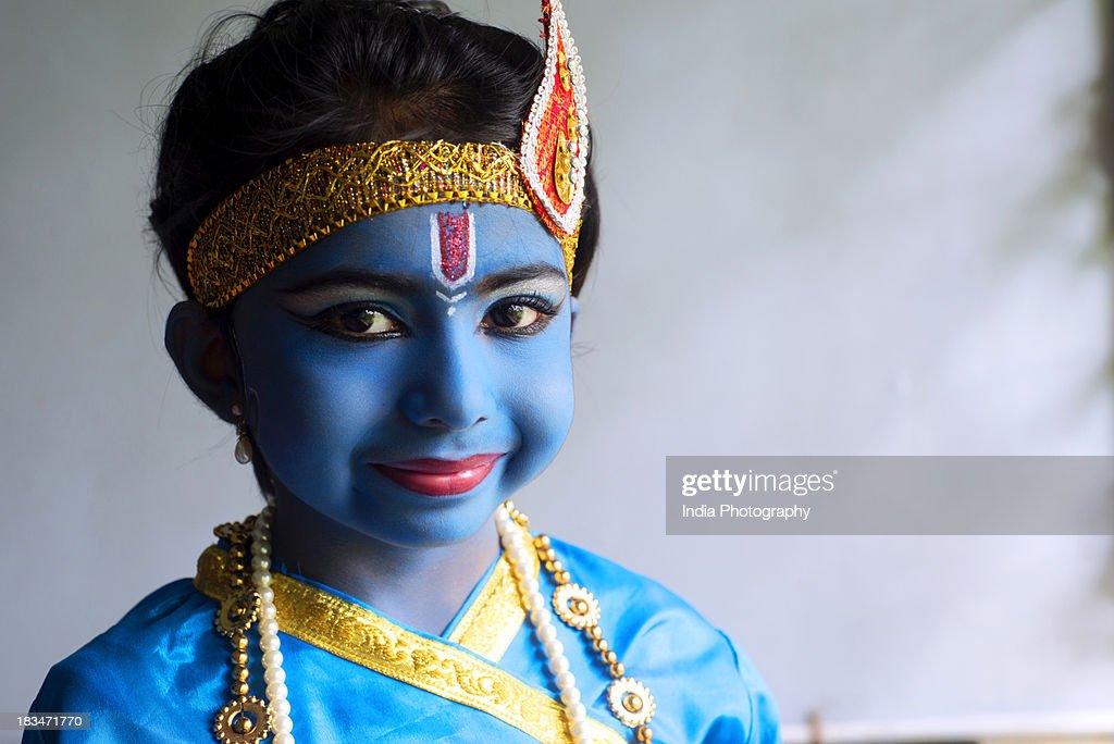 Indian Girl As Krishna Stock Photo
