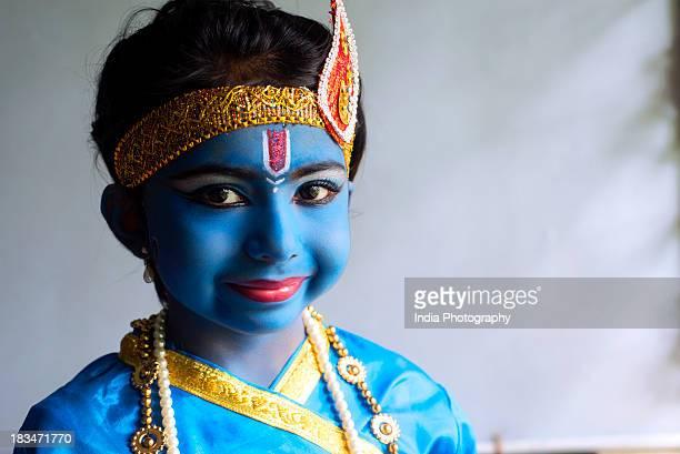 Indian girl as Krishna