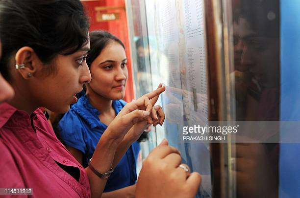Indian girls check their exam results at a high school in New Delhi on May 23 2011 Girls once again outshone boys in the Central Board of Secondary...