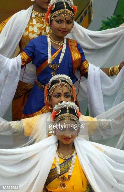 Indian girls perform a tradional Kuchipudi classical dance during Independence day celebrations in Hyderabad on August 15 2008 Across India...