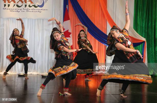Indian girls representing the state of Rajasthan compete in a traditional Indian folk dance competition held in Mississauga Ontario Canada on...