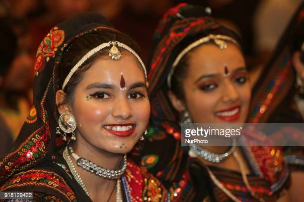 Indian girls representing the state of Rajasthan smile during a traditional Indian folk dance competition held in Mississauga Ontario Canada on...