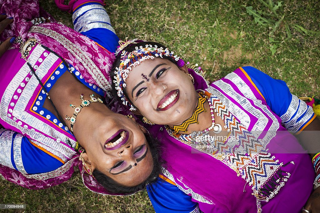 Indian Girls Smiling on grass : Stock Photo
