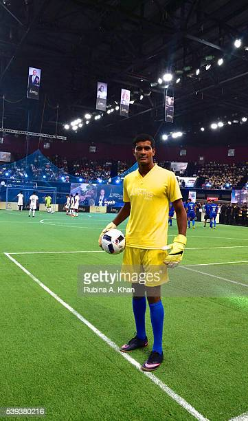 Indian goalie Subrata Paul at the exhibit football match organised in honour of French football legend and current Real Madrid coach Zinedine Zidane...