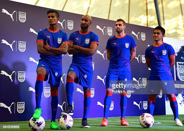Indian goalie Subrata Paul French footballer Nicolas Anelka Brazilian footballer Andre Moritz and Indian striker Sunil Chhetri at the unveiling of...