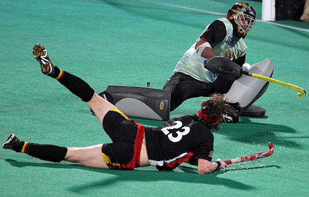 Indian goalkeeper Baljit Singh stops a shot at goal by Germany`s Christopher Wesley during the fournation Punjab Gold Cup in Chandigarh on February 6.