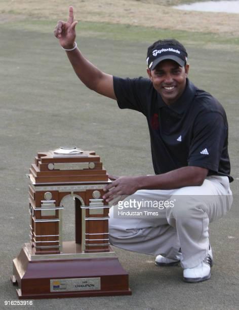 Indian golfer Shiv Shankar Prasad Chawrasia after winning the Indian Masters European Tour golf tournament in New Delhi