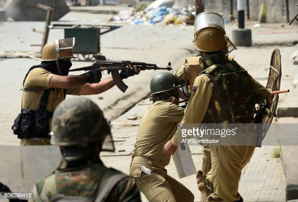 Indian government forces clash with Kashmiri protestors after the funeral procession of slain militant Yawar Nissar at Shipora in Anantnag South of...
