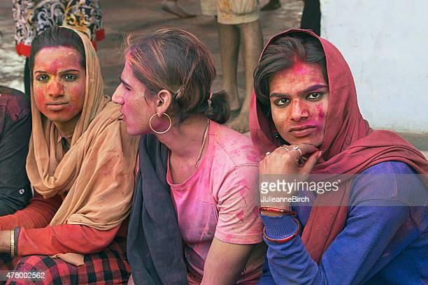 Indian group watching Holi Festival, India