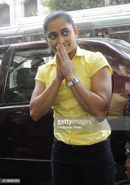 Indian Gymnast Dipa Karmakar arrives for felicitation ceremony organised by Bengal Chamber of Commerce on September 19 2016 in Kolkata India...