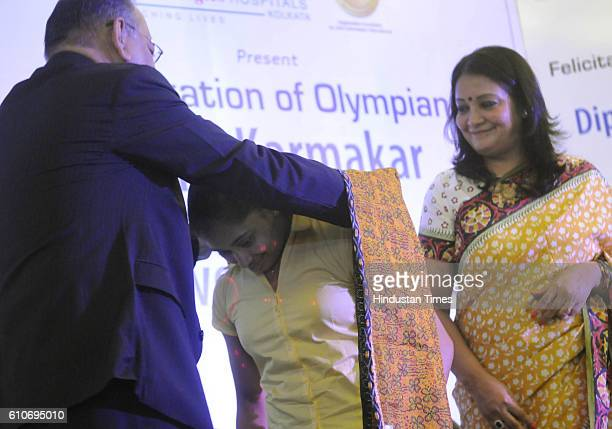 Indian Gymnast Dipa Karmakar felicitated by Bengal Chamber of Commerce on September 19 2016 in Kolkata India 23yearold Tripura Gymnast was...
