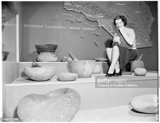 Indian Hall at County Museum 26 September 1951 Janice HurlburtArthur Woodward Mrs Marion ConnorHenry WyldeCaption slip reads 'Photographer Mercurio...