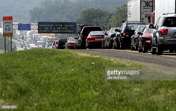 Indian Head, UNITED STATES: Travellers near Oxon Hill, Maryland, are warned of changes in traffic patterns 13 August as they travel on a seven-mile ,...