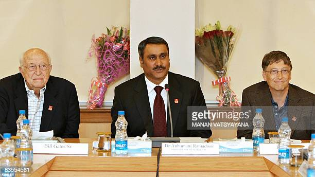 Indian Health Minister Anbumani Ramadoss addresses a meeting as Microsoft founder and Gates Foundation co-chairperson Bill Gates and father William...