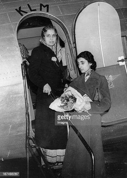Indian Health Minister Vijaya Lakshmi Pandit at her arrival in Croydon / England 1st September 1938 Photograph On the right is her niece Indira Nehru...