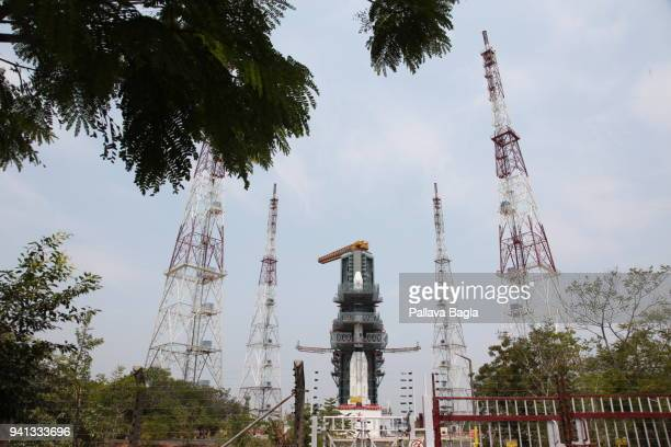 Indian heavy lift rocket the Geosynchronous Satellite Launch Vehicle 2013 M K II stands on the launch pad on March 27 2018 in Sriharikota India This...