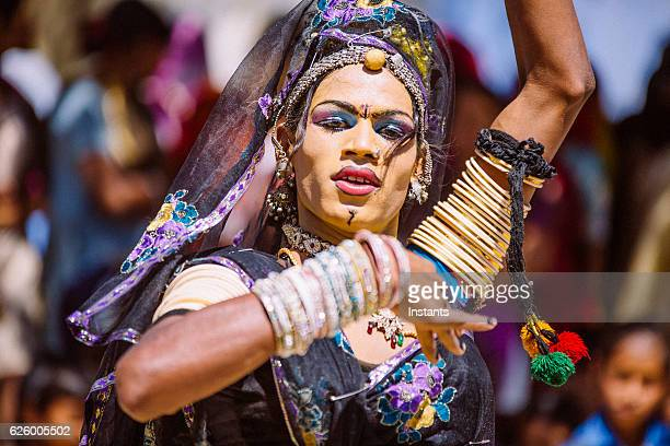 indian hijra dancer - hermaphrodite stock photos and pictures