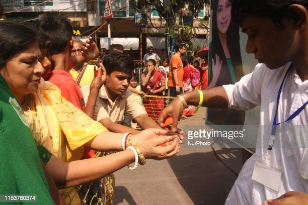 Indian Hindu devotees participate in the annual festival of Rath Yatra in Kolkata India Thursday July 4 2019 Three idols of Hindu deities Jagannath...