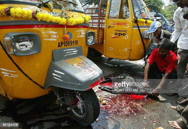Indian Hindu devotees sacrifice a goat after performing Ayudha Puja on their vehicles on the occassion of The DasaraVijaya Dashami festival in...
